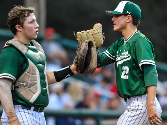 Jack Leiter, right, and Willie Schwanick of Delbarton, glove pump coming of the field against St. Augustine during the NJSIAA Non-Public A baseball championship game at Veterans Park in Hamilton on June 9, 2018.