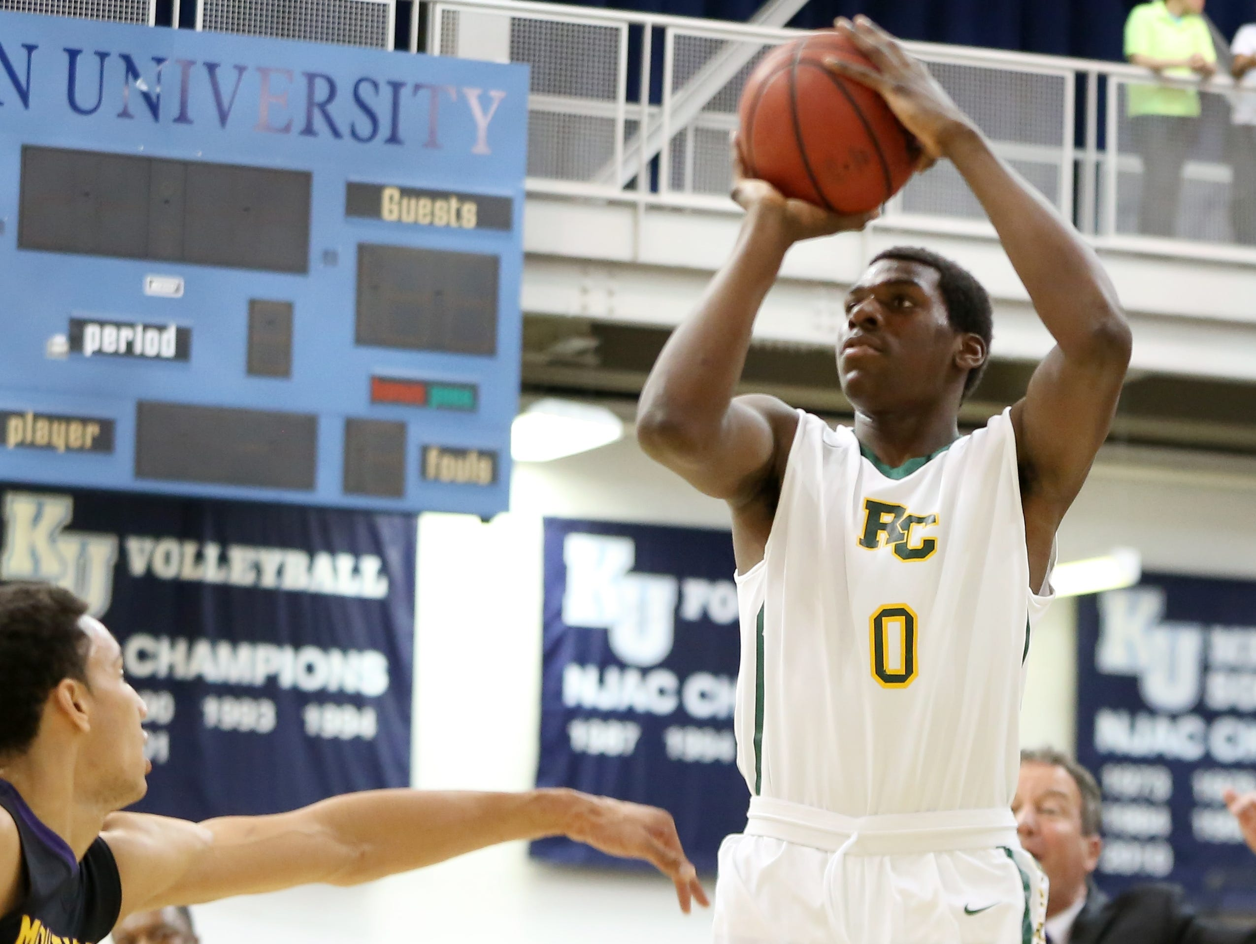 Roselle Catholic's Nazreon Reid (0) in action against Montverde (Fla.) Academy during Friday's game at Kean University in Union.