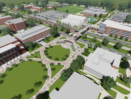 A rendering shows enhancements to Alumni Mall, with
