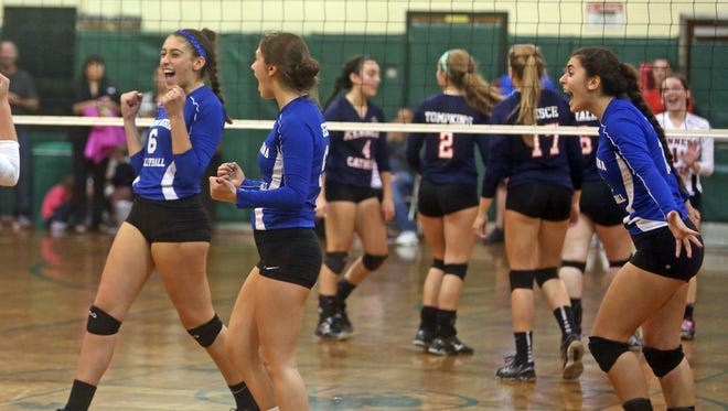 Maria Regina celebrates after defeating Kennedy Catholic in four games to take the Catholic High School Athletic Association volleyball championship at Sacred Heart High School in Yonkers Nov. 6, 2015.