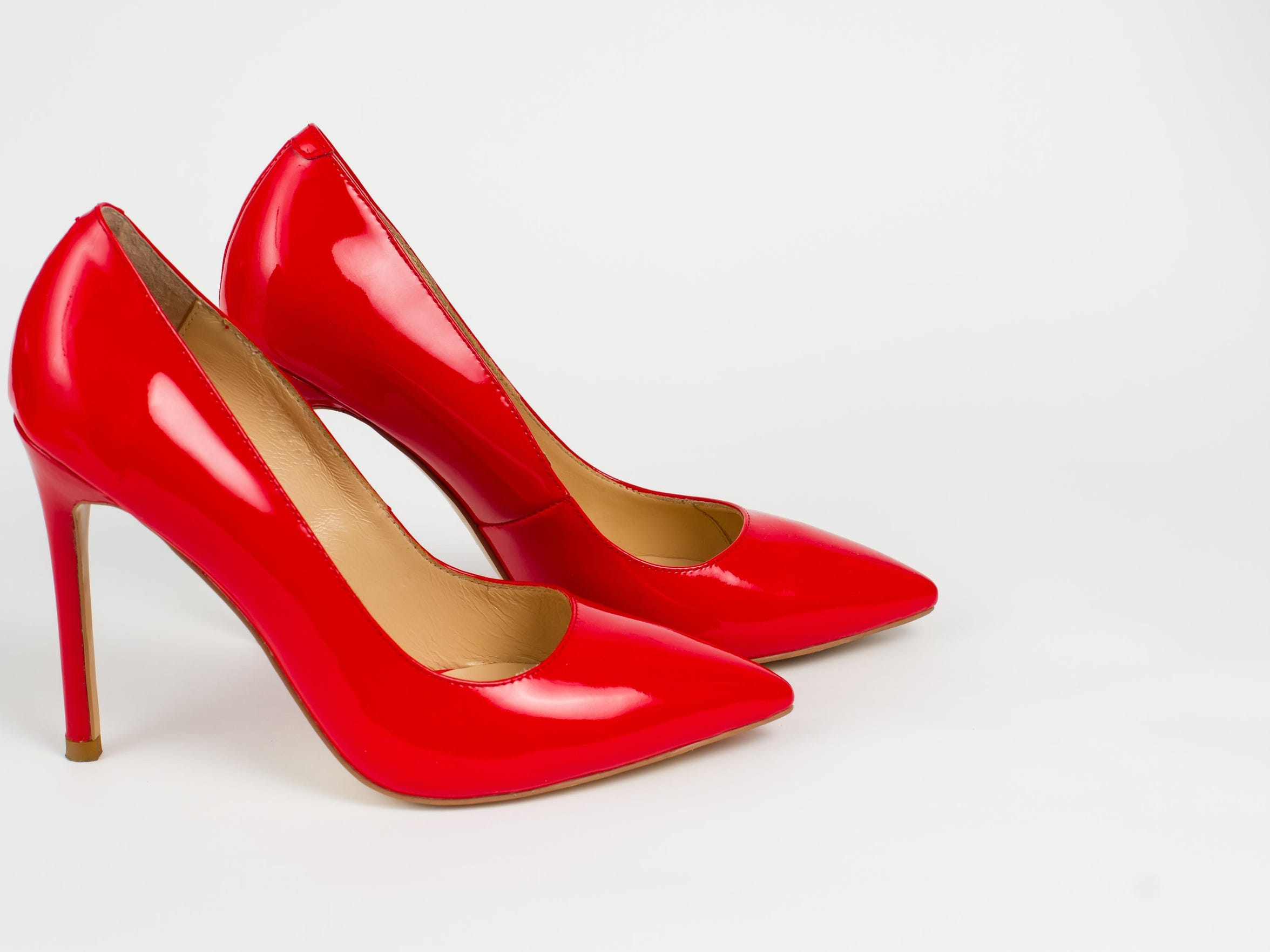 Red high-heeled shoes.