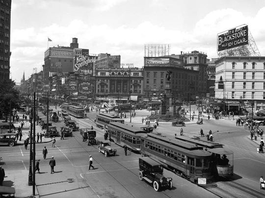 Early 20th-Century Campus Martius in downtown Detroit showing the signage atop buildings that used to be common in the city.
