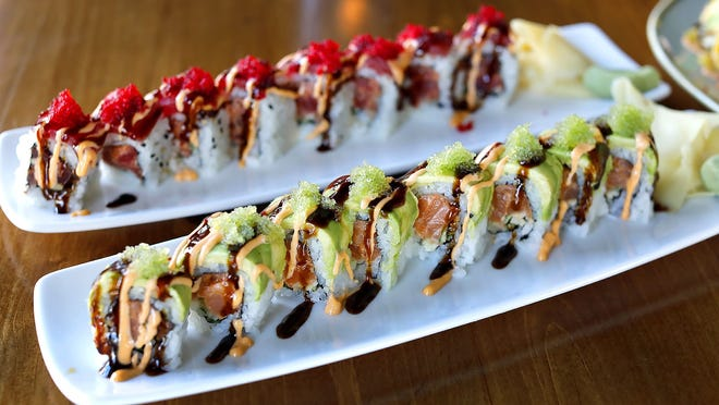 Fresh sushi by chef Pradip Budhathoki: the Green Harbor and Red Dragon rolls. Greg Derr/The Patriot Ledger