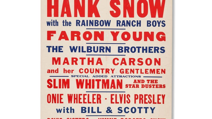 The poster advertises a concert in Raleigh where Presley