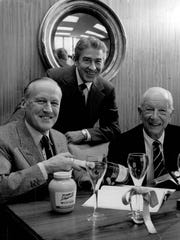 Pictured after the R.T. French Co. acquired Widmer Wine Cellars in 1970 are, from left, O.C. Rowntree, French's president; E.I Reveal, Widmer president; and George L. Todd, Widmer chairman.