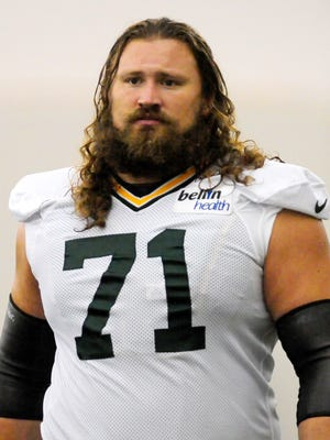 Green Bay Packers guard Josh Sitton during training camp practice in the Don Hutson Center, Monday, August 18, 2014.