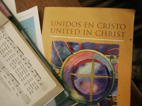 A hymnal at St. Patrick's Catholic Church includes