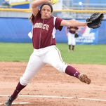 Senior Andrea Elmore was the winning pitcher and helped her cause with a three-run homer.