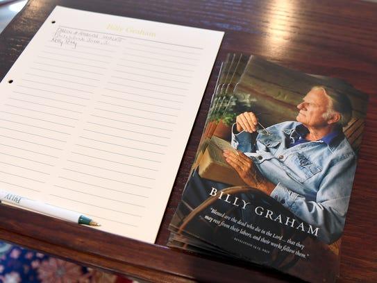 Pamphlets celebrating the life of the Rev. Billy Graham