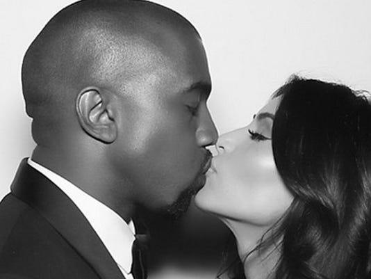 Kim Kardashian and Kanye West at their reception
