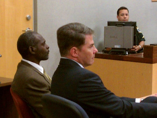 Crosley Green (left) during a court appearance in Brevard