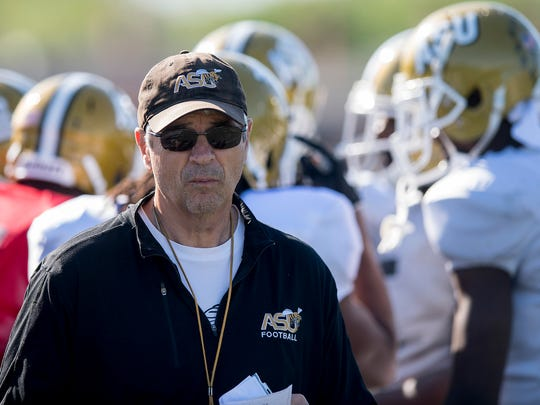 Alabama State University assistant coach Mark Orlando during spring practice on the ASU campus in Montgomery, Ala. on Wednesday April 4, 2018.
