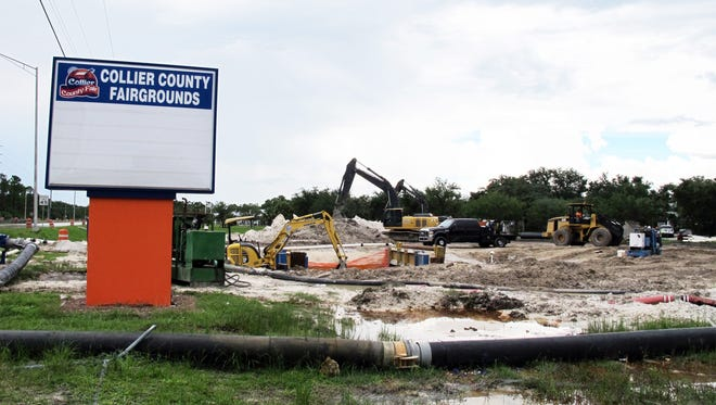 The construction on the corner of the Collier County Fairgrounds property at Immokalee Road and 39th Avenue Northeast is a project to provide potable water service to two long-awaited county projects: the Northeast Recycle Drop-off Center and Big Corkscrew Island Regional Park in northern Golden Gate Estates.