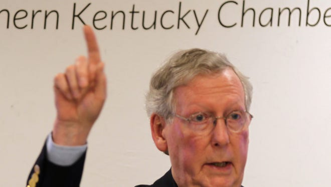 Sen. Mitch McConnell spoke Friday at a press conference at the Northern Kentucky Chamber of Commerce in Fort Mitchell.