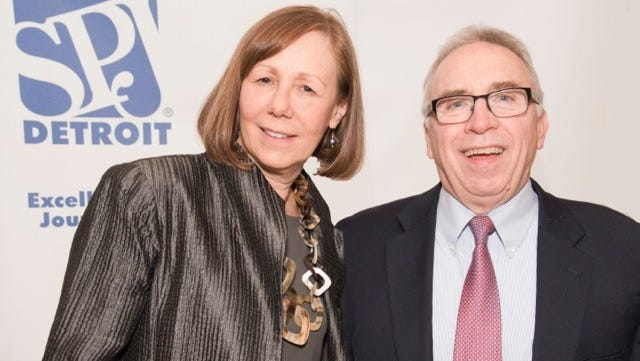 Laura Berman, retired metro columnist at The Detroit  News and Tom Walsh, retired business columnist at Detroit Free Press, were presented Lifetime Achievement Awards Tuesday night by the Detroit Chapter of the Society of Professional Journalists.