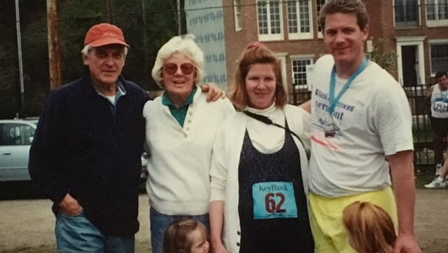 Ray Leary, upper left, stands with wife Charlotte, daughter-in-law Nancy, son Jim, and granddaughters Jenifer, bottom left, and Sarah, after the 1997 Vermont City Marathon. Ray and Charlotte passed away within three days of each other earlier this month.