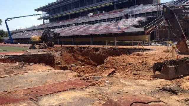 A sinkhole at Austin Peay University's football stadium.