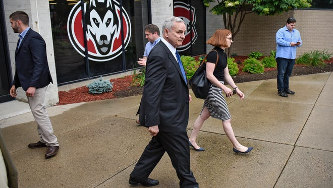 Gov. Mark Dayton leaves following a press conference Friday at St. Cloud State University. Dayton outlined funding for education projects in the state that he hopes will be approved during the special section.