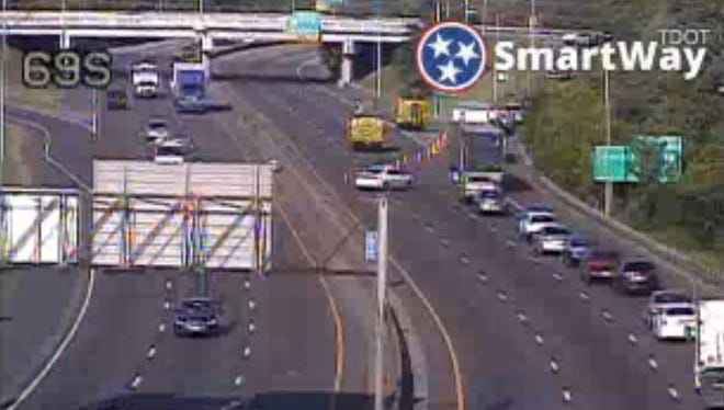 A Tennessee Department of Transportation traffic camera image of vehicles being diverted from I-55 South around 6 p.m. on May 11, 2018.