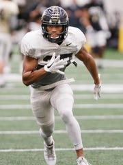 Junior safety Navon Mosley during Purdue spring football
