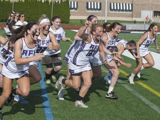 Girls Shore Conference tournament lacrosse. Rumson-Fair Haven vs Shore Regional at Monmouth University. Rumson celebrates at the end of the game--May 11, 2015-West Long Branch, NJ.-