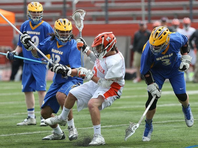 Mamaroneck defeated Mahopac 12-11 in overtime to win the boys Class A Section 1 lacrosse championship game at White Plains High School May 21, 2015. Frank Becerra Jr./The Journal News)