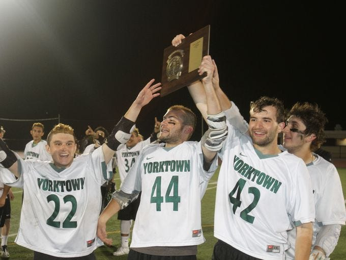 Yorktown defeated John Jay 11-9 in the boys Class B Section 1 boys lacrosse championship game May 21, 2015. Frank Becerra Jr./The Journal News