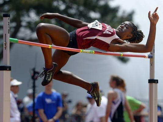 2014 Greece Arcadia track and field - Asia McInnis - girls state high jump