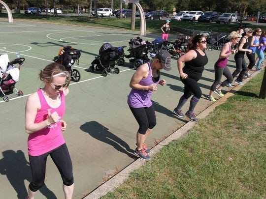Members of Jersey Stroller Moms at recent workout.