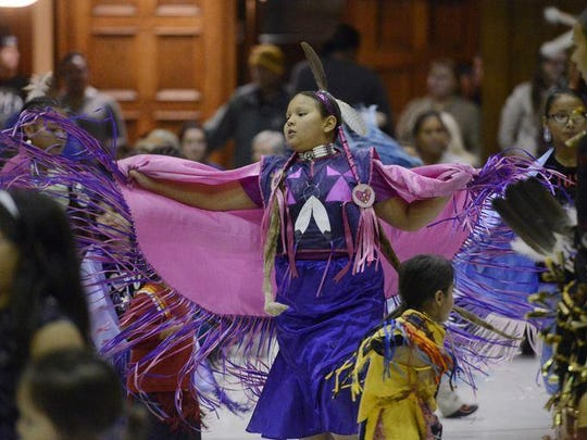 Cheyenne WallowingBull dances during the 2014 Native American Day Wacipi at the Multi-Cultural Center in Sioux Falls.