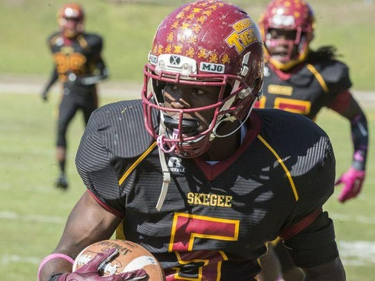 Tuskegee linebacker Osband Thompson had two interceptions, returned one of them for a touchdown, and had eight tackles.