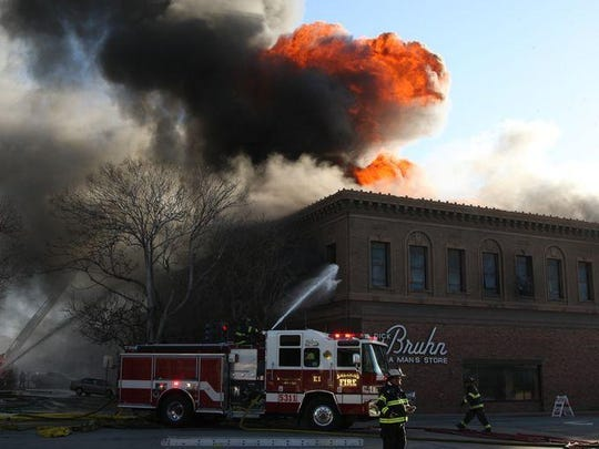 The Dick Bruhn building in Old Town Salinas was consumed in fire.