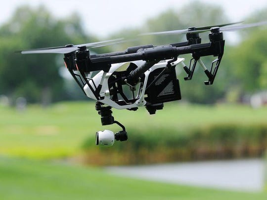 A drone is used at the Country Club in Sioux Falls in 2015.