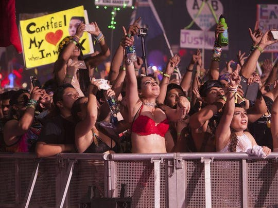 Electronic music fans from around the world gather at the Las Vegas Motor Speedway for the Electric Daisy Carnival on June 18.