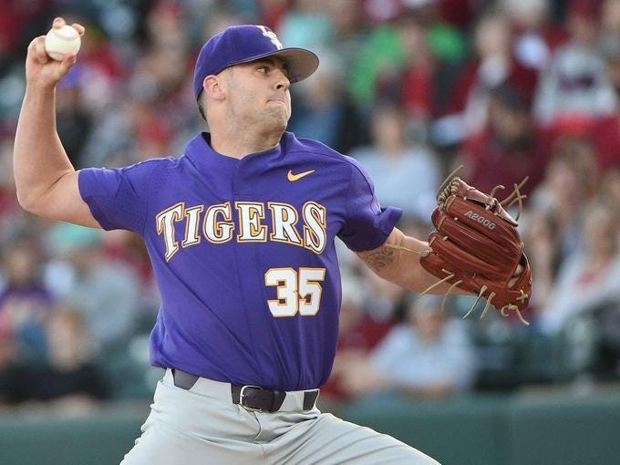 LSU pitcher Alex Lange took the loss on Friday night at Arkansas.