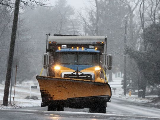 It just seems that Spring can't get here fast enough for Jersey Shore residents. Yet another snow storm hitting the area will dump anywhere between 4 to 8 inches of snow within Central Jersey on Thursday March 5,2015. Here a driver of a snow plow makes his way along Sally Ike Rd. in Brick as the snow starts to come down.