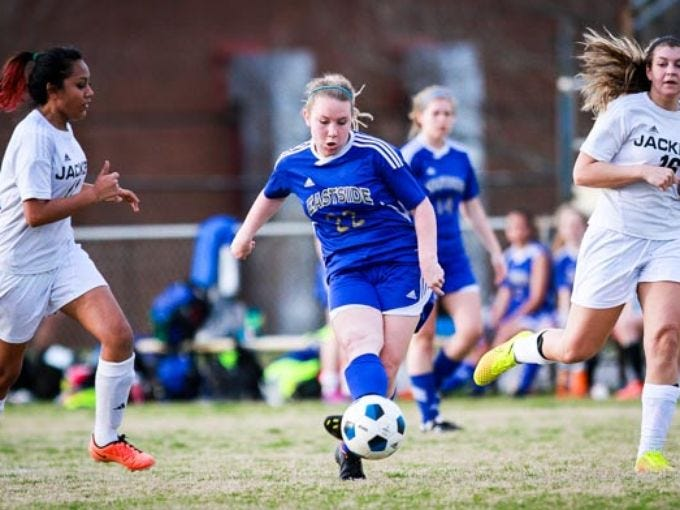 Eastside's Betsy Evatt (22) was among the seniors chosen to compete in the Clash of the Carolinas all-star event June 27 at Blackbaud Stadium on Daniel Island.