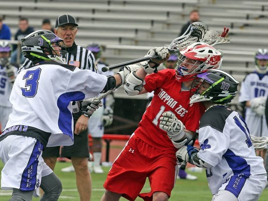 Tappan Zee dominated New Rochelle 7-1 in a varsity lacrosse game at New Rochelle High School March 31, 2015. (Photo: Seth Harrison/The Journal News)