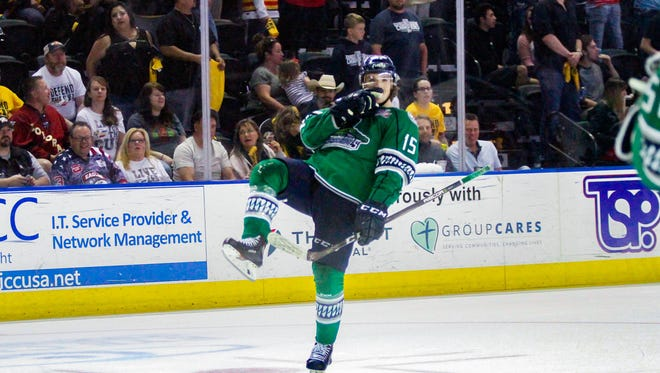 The Florida Everblades' Mitchell Heard celebrates after scoring the game-winning goal in the final minute of a 4-3 victory over the Colorado Eagles in Game 2 of the Kelly Cup Finals on Sunday, May 27, 2018, in Lovleland, Colorado.