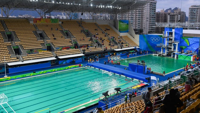 View of the diving, synchronized swimming, and water polo pools for the Rio Games on Aug. 10.