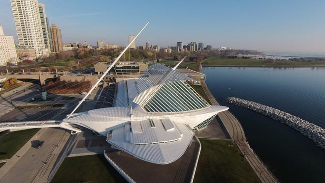 The Milwaukee Art Museum is a landmark along Lake Michigan in Milwaukee