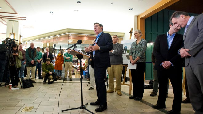 Burlington Town Center mall owner Don Sinex, center, and the City of Burlington have reached an agreement on a comprehensive plan to build out the mall and to make improvements stretching down Cherry Street all the way to the waterfront.
