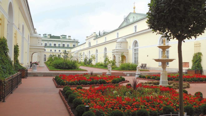 A courtyard garden provides visitors to the Hermitage respite from the museum's daunting priceless art collection.