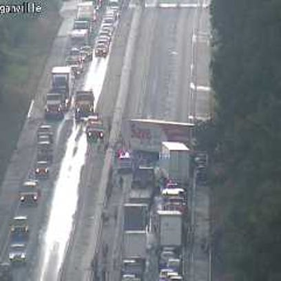 A photo of the back-up from 511PA.com. The tractor-trailer