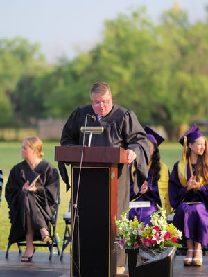 Damian Kennedy speaks at Bogota High School's 2016 graduation.