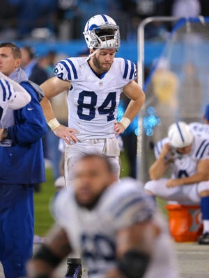 Indianapolis Colts tight end Jack Doyle (84) reflects on the team's loss of an NFL football game Monday, Nov. 2, 2015, at Bank of America Stadium in Charlotte, North Carolina. Panthers won in sudden-death overtime 29-26.