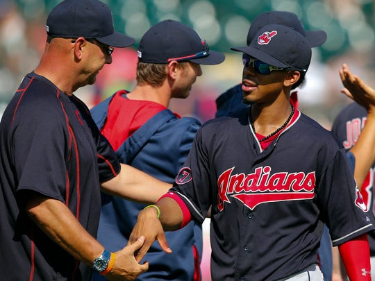 Manager Terry Francona and shortstop Francisco Lindor