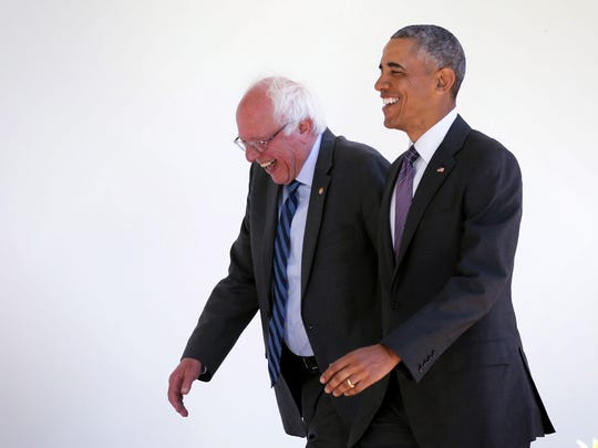 Former Democratic candidate for president Bernie Sanders of Vermont meets with President Obama earlier this year.