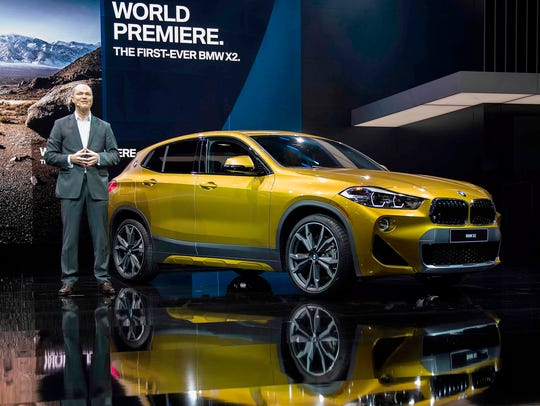 CEO of BMW of North America Bernhard Kuhnt introduces the BMW X2 during the 2018 North American International Auto Show in Detroit on Jan. 15, 2018.