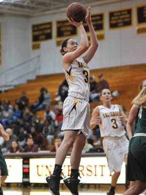 Julia McLaughlin rises for a jump shot in transition against Southern Virginia.